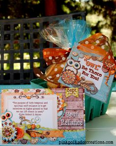 """Pink Polka Dot Creations:  Sept. 2013 Visiting Teaching Handout.  Plus a fun """"Owl"""" be there for you tag!"""
