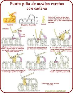 Ganchillo - Punto piña de medias varetas con cadena-puff stitch