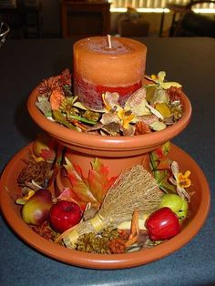 clay pot centerpiece by kristin.small Centerpiece, Christmas Crafts, Terracotta Can, Candles Holders, Flowers Pots, Crafts Corner, Clays Pots People, Clays Pots Crafts, Clay Pots