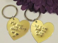 Couples Key Chains, Hand Stamped, Great for long distance relationships