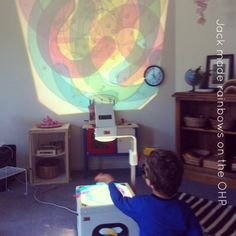Reggio Activities - Exploring colour and light on the OHP
