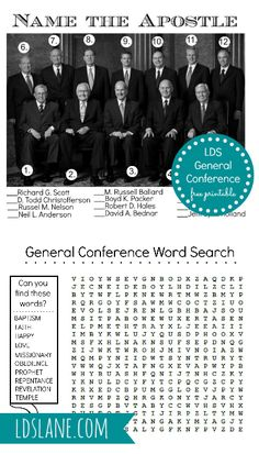 Name the Apostle - General Conference Word Search - Free Downloads - ldslane.com