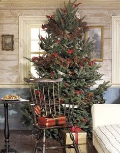 Rustic Christmas tree with pinecone garland