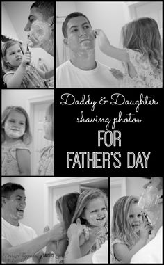 SO SWEET! Daddy Daughter Shaving Photos for Father's Day! Just leave the cap on a disposable razor and let your kids pretend to shave!  By Designer Trapped in a Lawyer's Body for Tatertots  Jello. #fathersdayphotos