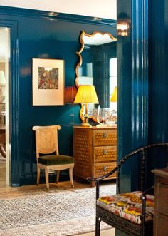 Marine Blue Lacquered Walls. Gold. Green. Brown. Black. Ikat. Inlaid Wood Chest. Interiors By Miles Redd | House & Home