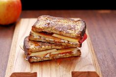 French Toast Grilled Cheese with Apples and Caramel O.M.G. Sign me up!