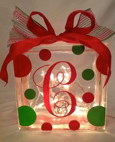 Personalized CHRISTMAS GLASS BLOCK with Lights, Polka Dots & Ribbon. $25.00, via Etsy.