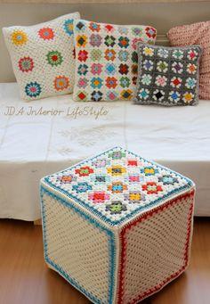 interior, crochet granny squares, pouf, cushion covers, crochet squares