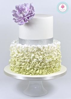 Green Ombre Ruffles & Peony Silver Wedding Anniversary Cake