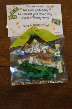 "Cute way to give money as a gift.  Make it generic by saying ""a bag full of money"" instead of birthday money."