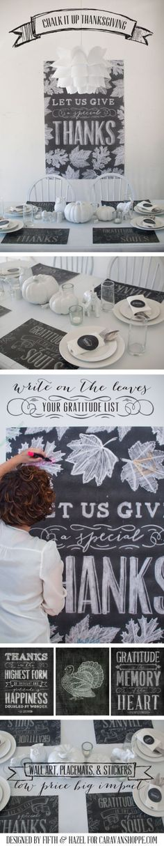 Chalk Art Thanksgiving Set printables: $5 for 3 art prints/wall poster, placemats, and stickers/tags