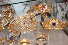 A collection of crowns and tiaras used in several movies about the Romanov Tsars