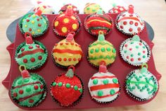 Christmas Ornament Cupcakes from CuteAsAFox.com