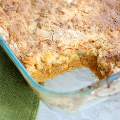 Pumpkin Dump Cake 1 (20 oz) can pure pumpkin 1 (12 oz) can evaporated milk 3 whole eggs 1 c. white sugar 3 t.cinnamon 1 Betty Crocker Supermoist yellow cake mix or spice cake mix 3/4 cup butter, melted bake @ 350,mix pumpkin, milk, eggs, sugar, & cinnamon until well blended. Spread pumpkin mixture in prepared baking dish. Mixture will be very wet.Sprinkle cake mix evenly on top of the batter. Pour melted butter over the top of the cake mix. Bake 50 min.