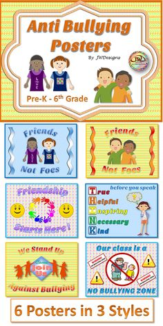 from teachers pay teachers anti bullying 6 posters in 3 colorful