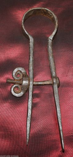 18th Century forged iron caliper, divider.