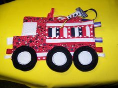 DIY Taggie Toy Fire Truck Patchwork Crinkle Toy by civilwarlady, $4.99