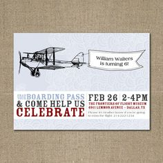 PRINTABLE Vintage Airplane birthday party or by chachkedesigns, $10.00