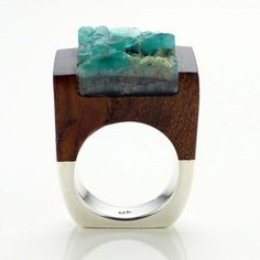 Emerald Wood Ring Love I, by PASIONAE // unique use of mixed materials.