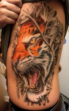 See more Roaring 3D Tiger tattoo on full side body