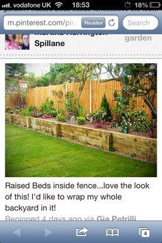 Raised flower beds inside fence.
