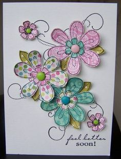 handmade card ... Friendship Blooms ... five paper pieced flowers with candy dot centers ... outlines stamped on printed papers and cut out ... flourishes stamped on the background hold the posey together ... sweet and perky card!!
