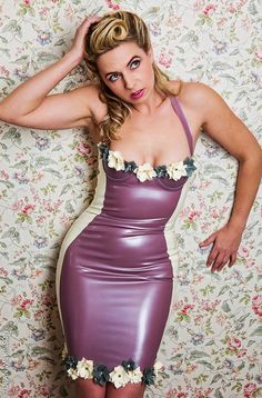 Latex Half Cup Flower Halterneck Dress