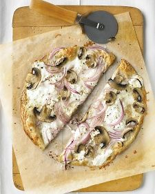 Thinnest Crust Pizza with Ricotta and Mushrooms - uses a sandwich wrap for crust - cuts calories to 305 per slice