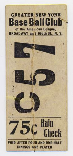 c 1903 Hilltop Park ticket
