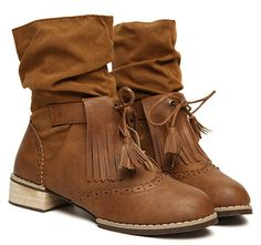 $17.23 Vintage Women's Short Boots With Fringe and Carving Design