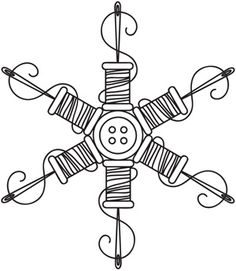 spool snowflake embroidery patterns, sew snowflak, doodl