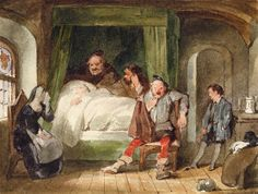 James Stephanoff. King Henry V, act II, scene III. London. Mrs. Quickley's house in Eastcheap. Enter Pistol, Mrs. Quickley, Nym, Bardolph, and Boy. Pistol: Falstaff he is dead and we must yearn therefore. Watercolor, 1853. Folger Shakespeare Library.