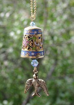bird thimble pendant