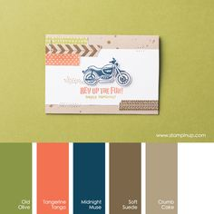 Stampin Up colour combinations - Old Olive, Tangerine Tango, Midnight Muse, Soft Suede, Crumb Cake