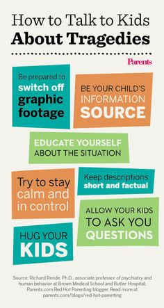 7 tips for explaining tragedies to children: http://www.parents.com/blogs/red-hot-parenting/2013/04/15/health/boston-marathon-explosions-be-in-control-of-what-your-child-will-hear-and-see/?socsrc=pmmpin130416pttTragedies