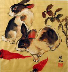 Rabbits & Carrots  Lin-Hua's Chinese Paintings