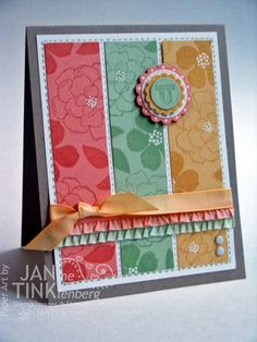Greeting Card  Thank You Floral Handmade in Kraft Peach by JanTink, $5.95