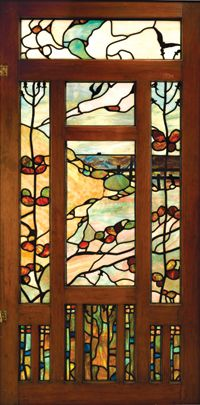 Entry hall window panel for the Jennie A. Reeve House, designed by Greene and Green, 1904. Leaded glass door. Private collection, New York. Photograph courtesy of Sotheby's, New York. Museum of Fine Arts, Boston.