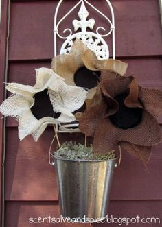 Burlap Sunflowers  Super cute, fun, easy and cheap fall decor!!!