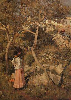 Two Little Italian Girls by a Village
