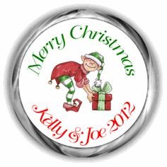 Elf personalized christmas hershey kisses favors kiss labels more
