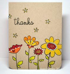 handmade thank you card from Paper Smooches  ... one layer ... kraft ... luv the fantasy flowers stamped on Kraft and colored in warm earthy colors ... gel pen white dots too  ... luv it!