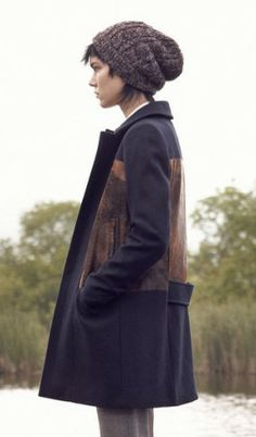 navy and brown color block coat