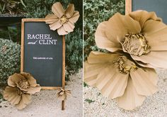 Loving these oversized brown craft flowers. Gorgeous details in the centers, as well.  DIY craft paper flowers | photo by Taylor Lord | 100 Layer Cake