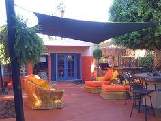 back patio, deck area, backyard oasis on a budget, sun sail shade, backyard decks