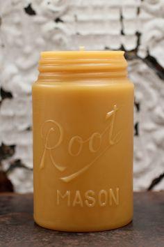 Mason jar beeswax candle
