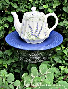 Lavender teapot garden stake by Garden Whimsies by Mary