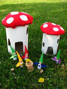 Mushroom house and flower fairies; use empty oatmeal/coffee containers and small wooden people from any craft store. Add felt!