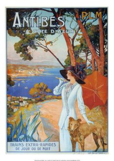 French Antibes Cote d'Azur Travel Poster With Mounted Canvas Option Giclee Print
