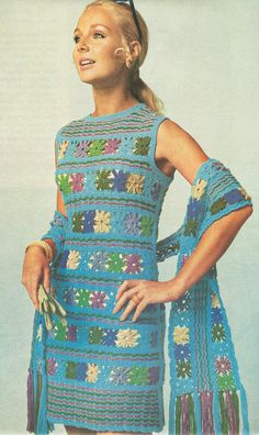 Vintage 1970s Crochet Daisy Flower Striped Shift and Scarf Pattern ...and many more vintage patterns!!!!